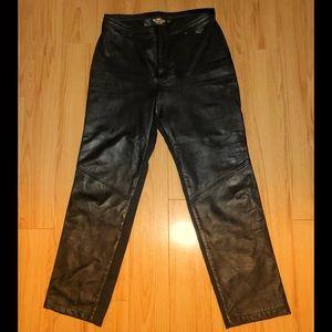 HARLEY-DAVIDSON Black Leather/Spandex Pants-Sz 12